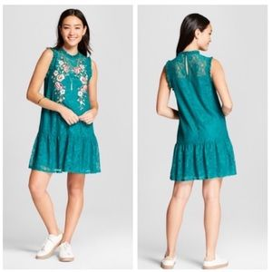 Xhilaration Teal Green Embroidered Lace Dress M
